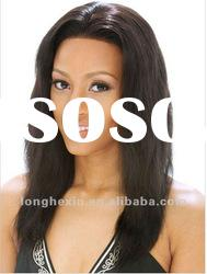 soft Indian remy hair natural straight full lace wig, human hair wigs