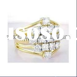 sparkling and delicate crystal set with gold plated ring, elegant wedding jewelry