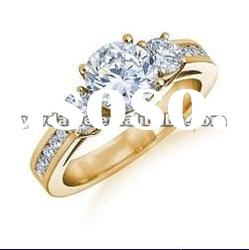three sparkling zircon set in center,surface set in crystal, gold plated rings, delicate jewelry