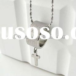 titanium stainless necklace with cross pendant/costume jewelry