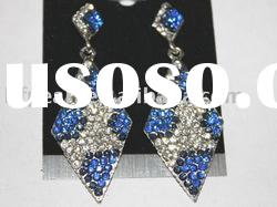 wholesale fashion blue and white diamond shape earrings