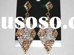 wholesale fashion brown and white diamond shape earrings