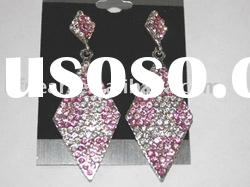 wholesale fashion pink and white diamond shape earrings
