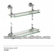 zinc base double glass shelf with normal glass or tempering glass
