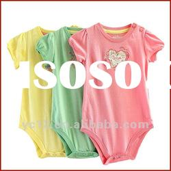 100% Cotton Baby Girls Short Sleeve One Piece Bodysuit