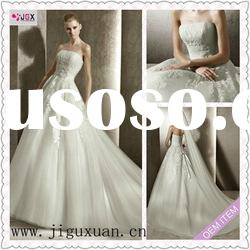 1960-1hs New Arrival Strapless with Appliqued A-Line Floor Length White dresses wedding gown