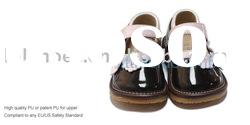 2011 fashion girl style squeaky shoes with 3 pink flowers SQ-G10504BR