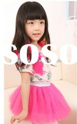 2012Wholesalee Korea design baby girl summer dress / kids MiNi lace gauze ball gown princess dress