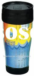 2012 New wave double wall plastic paper insert coffee mug, vacuum cup,thermos cup,car mug, auto mug