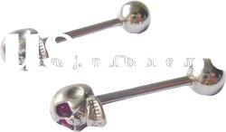2012 Wholesale New Hot Charm Gauges 316L Surgical Stainless Steel with one side skull tongue ring
