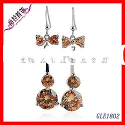 2012 fashion 14k gold earrings for girls, yellow stone earrings with samples