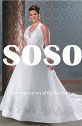 2012 hot sale V-neck halter plus size wedding dresses(PWD10534)