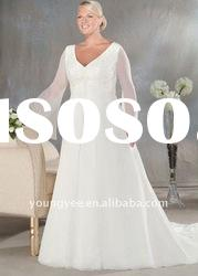 2012 hot sale V-neck long-sleeve plus size wedding dresses(PWD10543)