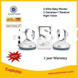 2.4 Inch 2 Cameras 2.4Ghz Wireless Video&Audio Night Vision Baby Monitor