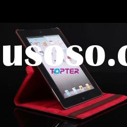 360 Rotating Red Leather Case for The New iPad