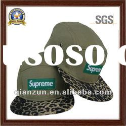 5 panels flat brim baseball cap with Leopard grain bill