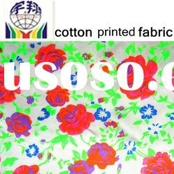97%cotton 3%spandex flower printed fluorescent fabric