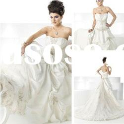AM1444A LINE WHITE STRAPLESS BEADING EMBROIDERY EMPIRE WAIST CUSTOM MADE WEDDING DRESS