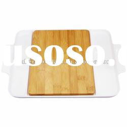 Bamboo Cutting Board Set with porcelain tray