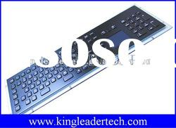 Brushed black industrial metal keyboard with touch pad with USB or PS2 Interface