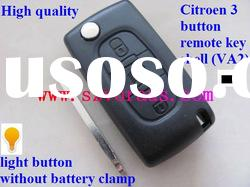 Citroen 3 button remote key shell (VA2, without battery clamp,light button)