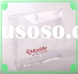 Clear Vinyl Pvc Zipper Bag with Print / Plastic Cosmetic Bag Manufacturer
