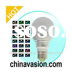 Color Changing LED Light Bulb - 16 Color LED Lamp with Remote Control (3W)