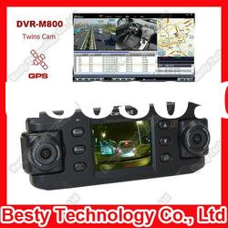 Dual Lens Car DVR GPS Car Black Box with Wide Angle