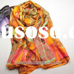 Fashion women's silk print long scarf
