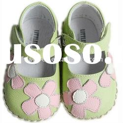 Green soft sole Leather baby shoes with pink daisy LBL-BB1101GR