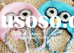 H05C035C Hand fashion Crochet Baby kufi Hats cap Beanie flower animal new born baby gifts earflap