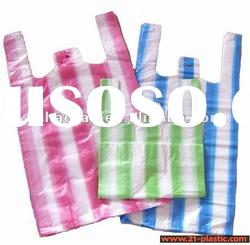 HDPE plastic colourful strip t-shirt shopping bag for supermarket/grocery