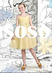 IMF-001 Light Yellow Chiffon Wedding Flower Girl Dress IMF-001