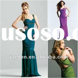 JL0091 New design mermaid spaghetti strap ruffled evening dress fashion 2012