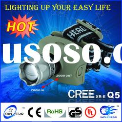 LED Headlamp 5W CREE Q5 LED Headlight Zoomable Zoom Headlamp Waterproof Out Hiking Head light