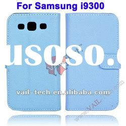 Light Blue Leechee Pattern Leather Case For Samsung Galaxy S3 i9300