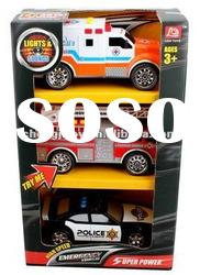 Musical kids sliding toys police car with light and battery