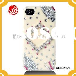 NEW 3d cell phone case with rhinestone cupchain for iPHONE4 CASE