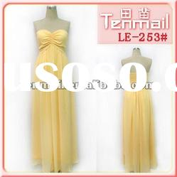 Naples yellow evening dress,strapless long fomal dress,real party dress