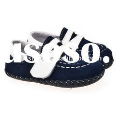 Navy boys soft sole Leather baby shoes BB-A27126-NV