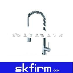 New Chrome Kitchen Sink Faucet Swivel Pullout Dual Spray Single Hole Handle
