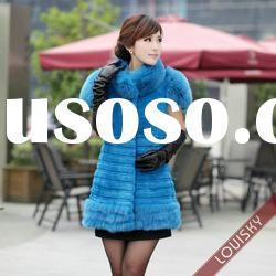 New Lady's Rex rabbit fur vest with fox fur collar Free shipping Blue