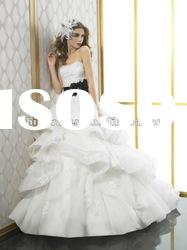 New White Organza Dress with Black Sash Wedding Dresses,PV1204