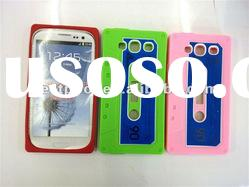 New arrival Cassette tape Silicone Rubber case for samsung galaxy s3 i9300 Mixed colors
