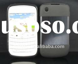 New design !Black Metal Aluminum Surface+Silicone Shiny Back Case For Blackberry Curve 8520/9300