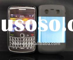 New design !Blue Metal Aluminum Surface+Silicone Shiny Back Case For Blackberry Bold Curve 8520/9300