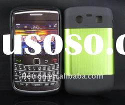 New design ! Green Metal Aluminum Surface+Silicone Shiny Back Case For Blackberry Bold 9700/9020