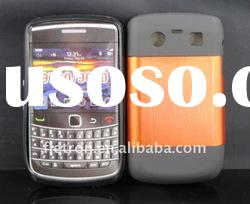 New design !Orange Metal Aluminum Surface+Silicone Shiny Back Case For Blackberry Curve 8520/9300