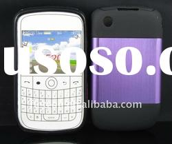 New design !Purple Metal Aluminum Surface+Silicone Shiny Back Case For Blackberry Curve 8520/9300