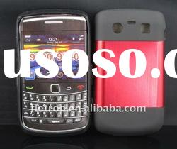 New design ! Red Metal Aluminum Surface+Silicone Shiny Back Case For Blackberry Bold 9700/9020